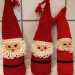 Strikk en nissefamilie til jul – strikking med hvitt og rødt garn..