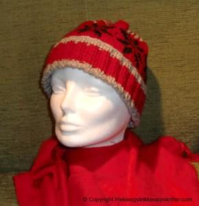 strikket lue rød