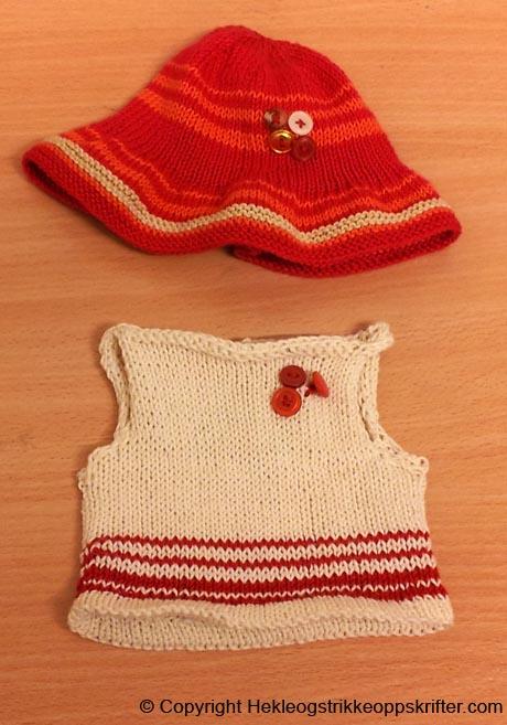 strikke-dukkeklaer-solhatt