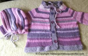 strikke lilla babyjakke